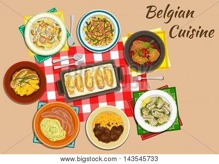 Belgian cuisine endive rolls witloof with ham and cheese flat icon served with milk sausages, fries with beef stew, mashed potatoes stoemp, creamy chicken and vegetable stew, rabbit with cherries, potato salad with bacon and beans, eel in green sauce