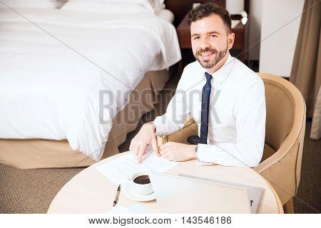 Young Man Enjoying His Business Trip