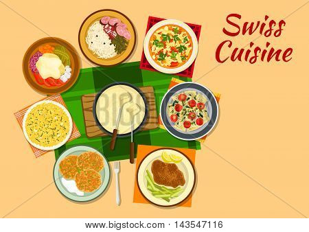 Swiss cuisine cheese fondue flat icon served with cheese schnitzel, potato fritter rosti, minestrone soup, potato with hot cheese raclette, saffron risotto, sausages with sauerkraut and chard ravioli