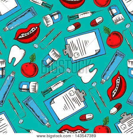 Seamless dentistry and dental care pattern of sketched teeth, pills, syringes, dental mirrors and probes, toothpastes, medical examination forms, smiles with braces and fresh apples on teal background