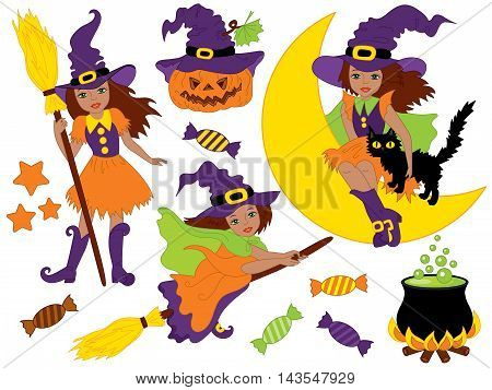 Vector African American witches set with cat broomsticks sweets and pumpkin
