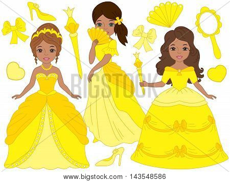 Vector African American beautiful princesses set in yellow dresses