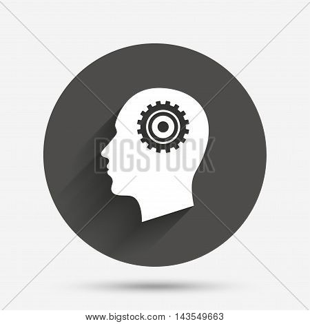 Head with gear sign icon. Male human head symbol. Circle flat button with shadow. Vector