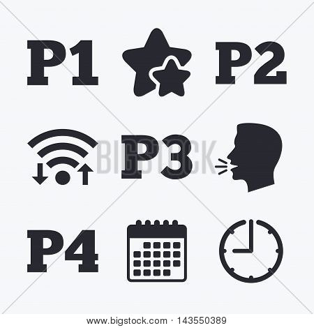 Car parking icons. First, second, third and four floor signs. P1, P2, P3 and P4 symbols. Wifi internet, favorite stars, calendar and clock. Talking head. Vector poster