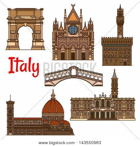 Italian historical travel sights icon with linear Florence Cathedral, Church of Santa Maria Maggiore, Siena Cathedral, Rialto Bridge, ancient Arch of Titus and Palazzo Vecchio