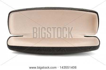 Empty leather eyeglasses case isolated on white