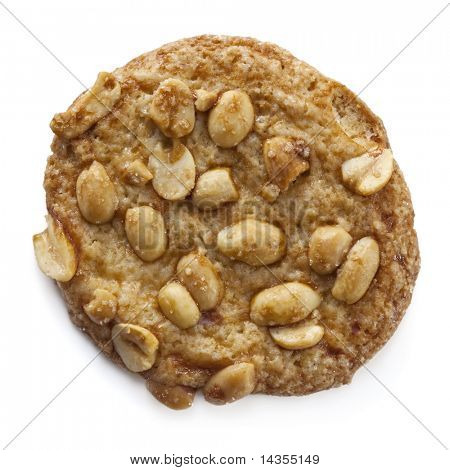 A single peanut cookie, isolated on white with soft shadow.