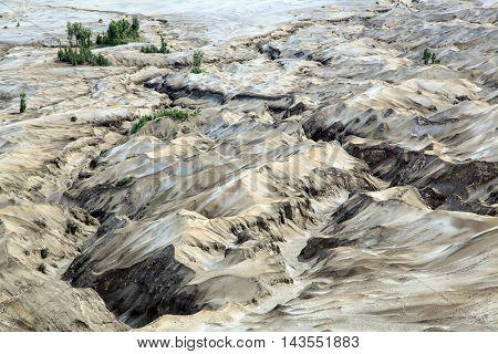Desert Sand Dune Mountain Landscape of Bromo Volcano crater, East Java Island Indonesia