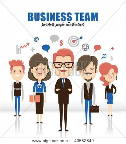 Businessman boss with group of business people team
