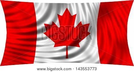 Flag of Canada waving in wind isolated on white background. Canadian national flag. Patriotic symbolic design. 3d rendered illustration