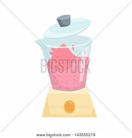 Make smoothie in blender. Cooking process vector illustration. Kitchenware and cooking utensils isolated on white. The process of mixing smoothies in a blender. Fresh healthy beverage
