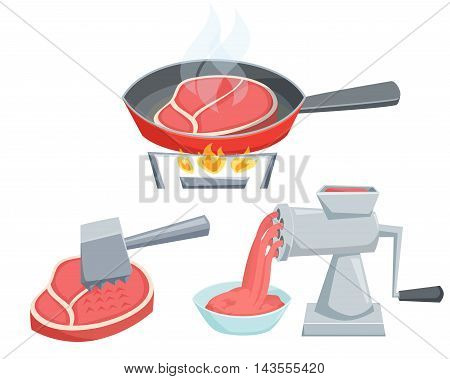 Cooking meat set. Fry the steak in a frying pan, make minced in a meat grinder, tenderize meat with hammer. Cooking process vector illustration. Kitchenware and cooking utensils isolated on white.