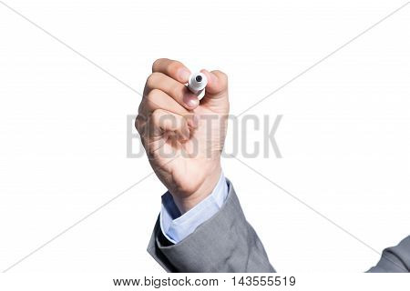 Business man writing with marker writing something on glass board isolated on white background