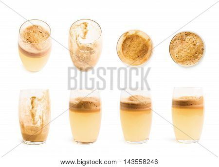Glass filled with fresh pressed juice isolated over the white background, set of eight different foreshortenings