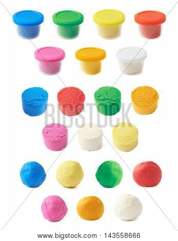 Piece of a modelling clay isolated over the white background, set of seven different colors, each in three variations