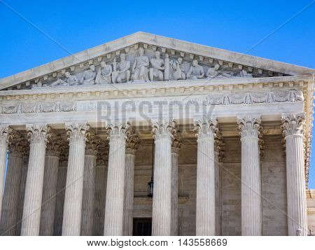 Supreme Court and blue skies focusing on the columns