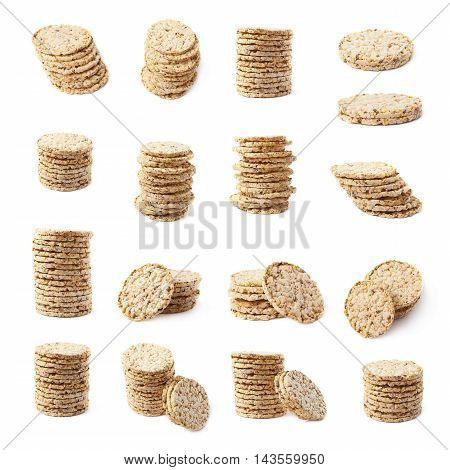 Pile stack of diet rice crackers isolated over the white background, set of multiple different foreshortenings