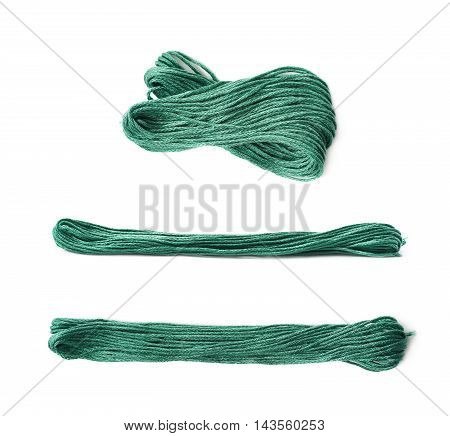 Embroidery thread yarn isolated over the white background, set of three different foreshortenings