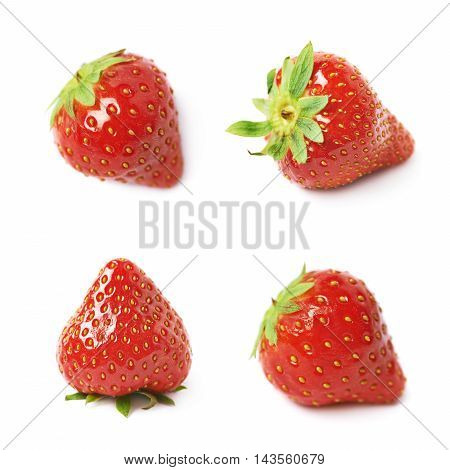 Single ripe red strawberry isolated over the white background, set of four different foreshortenings