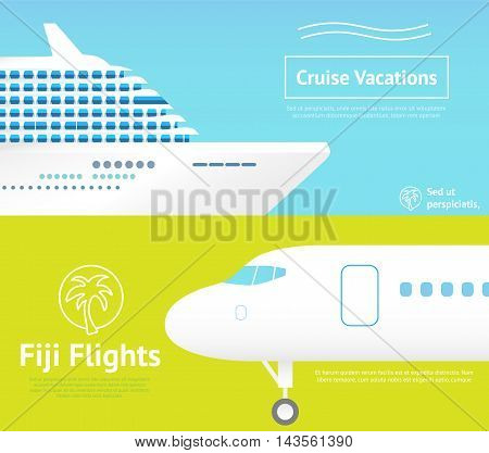 Summer travel banners with plane and cruise ship.