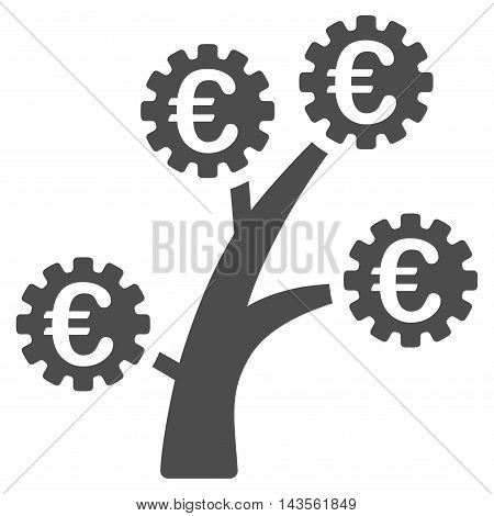 Euro Technology Tree icon. Vector style is flat iconic symbol with rounded angles, gray color, white background.
