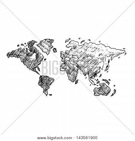 Doodle world icon hand draw illustration design