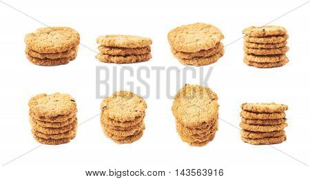 Pile stack of oatmeal cookies isolated over the white background, set of eight different foreshortenings