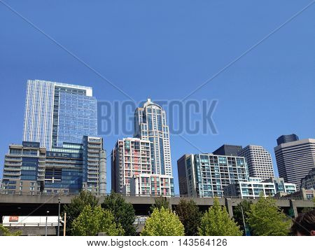 View from the pier on Seattle city with blue sky