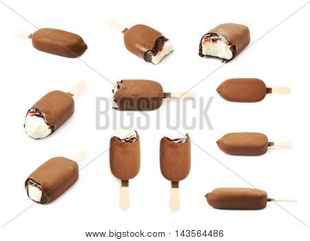 Vanilla ice cream bar coated with chocolate glaze on a wooden stick, composition isolated over the white background, set of multiple different foreshortenings