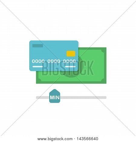 Conceptual Vector Flat Illustration with Cash and Credit Card Depicting Minimum Amount of Money on an Account for Withdrawal