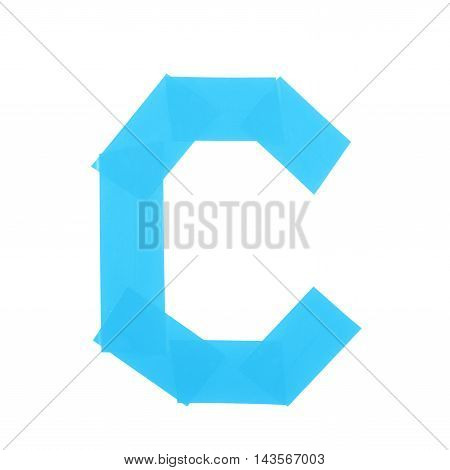 Letter C symbol made of insulating tape pieces, isolated over the white background