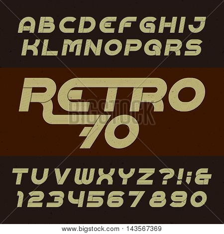 Retro stripe alphabet vector font. Funky oblique type letters, numbers and symbols. Typography for headlines, posters etc. in 70's style.