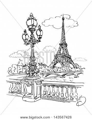 vector sketch of a view of the river Seine from the Eiffel Tower and lantern