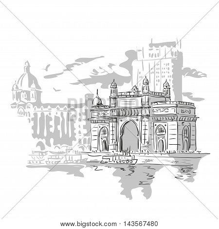 Mumbai India Gate and the Taj Mahal Hotel Mumbai the view from the Arabian Sea. Vector monochrome illustration.