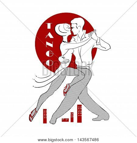 Stylized passionate heterosexual couple dancing tango against the background of the red sun and the city below