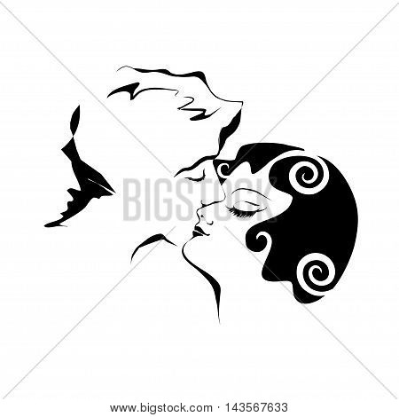 Vector drawing - amour tender kiss loving couple