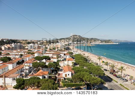 A view across the coastal town and beach of Blanes Catalonia Spain.
