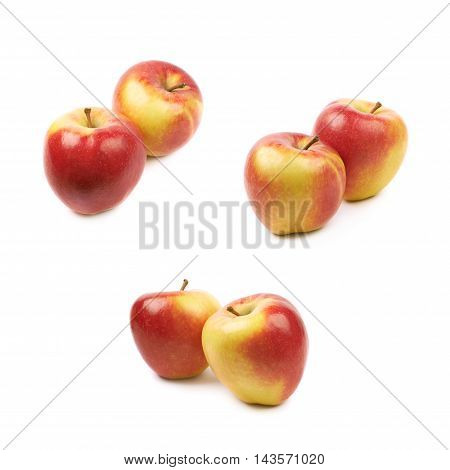 Composition of multiple ripe red and golden jonagold apples isolated over the white background, set of three different foreshortenings