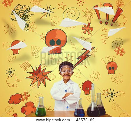 Cute pupil dressed up as scientist against paper airplane graphic