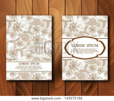 Vector vintage cards in mehndi style. Invitation cards with henna mehndi elements. Design template. Vector illustration.