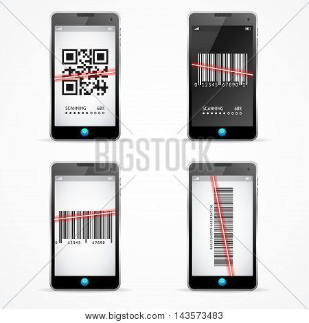 Barcode Scanner Mobile Set. Concept recognition Code. Vector illustration