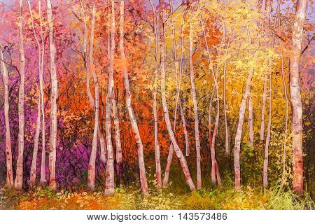 Oil painting landscape - colorful autumn trees. Semi abstract image of forest aspen trees with yellow and red leaf. Autumn Fall season nature background. Hand Painted landscape Impressionist style