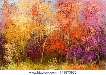 Oil painting landscape - colorful autumn trees. Semi abstract image of forest trees with yellow - red leaf. Autumn Fall season nature background. Hand Painted Impressionist style