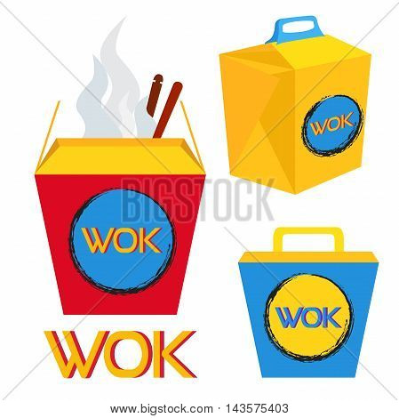 Illustration of boxes for wok food, chinese and japan food. Ramen set in bright colors. Flat style.