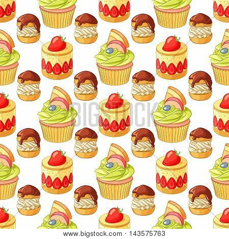 Bright colorful desserts and pastry seamless vector pattern on white background. Strawberry tart, fruit cupcake and profiteroles.
