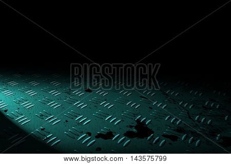 green diamond plate with spot lighting and drop of paint on black shadow background. 3d illustration.