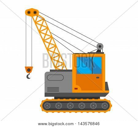 Vector crane truck isolated on white background. Vector crane truck under construction. Under construction crane truck excavator