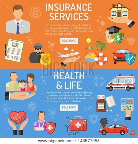 Insurance Services Horizontal Banners - House, Car, Medical and Travel Flat Icons. Vector illustration.