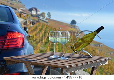 White wine on the table. Lavaux. Switzerland