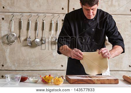 Restaurant Hotel Private Chef Preparing Pizza Rolling Flattening Dough